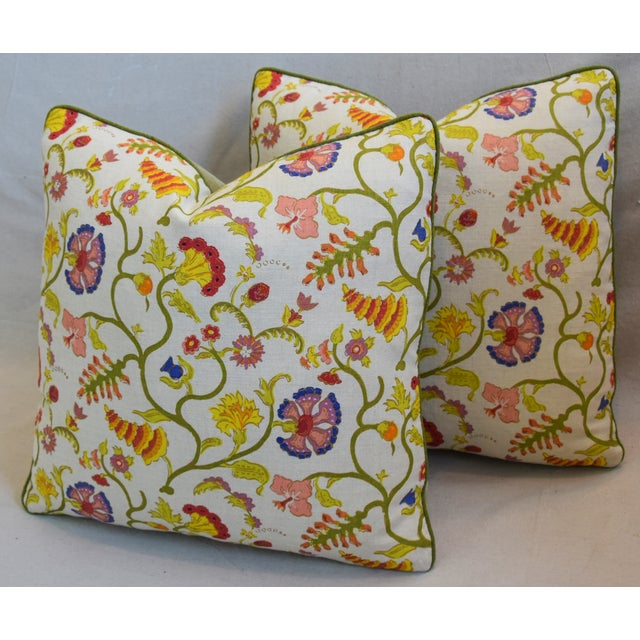 """Blue Raoul Floral & Scalamadre Mohair Feather/Down Pillows 21"""" Square - Pair For Sale - Image 8 of 13"""