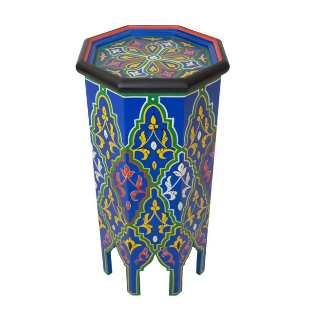 Blue Dari Hand-Painted Side Table - Image 2 of 5