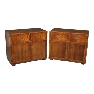 Henredon Campaign Style Chests - a Pair For Sale