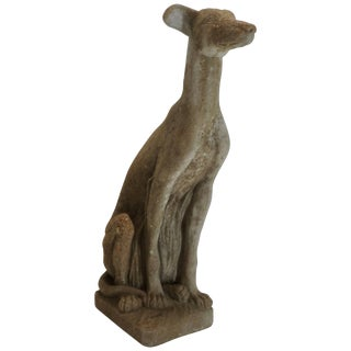 Early 20th Century Cast Stone Whippet Statue For Sale