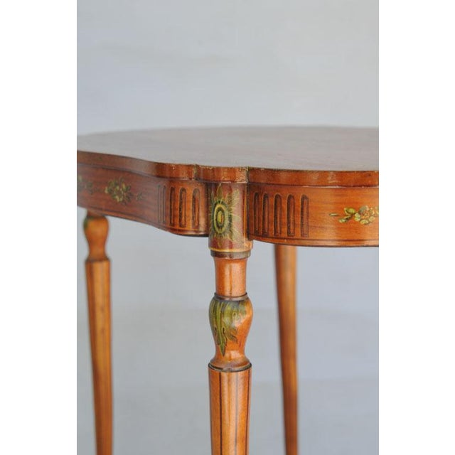 Gold Exquisite Hand Painted Satinwood Table For Sale - Image 8 of 10