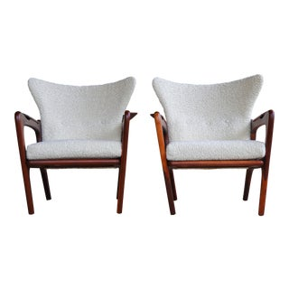 1960s Vintage Adrian Pearsall Lounge Chairs in White Boucle- A Pair For Sale