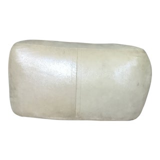 1970s Contemporary Oyster Shell Leather Cube Shaped Ottoman For Sale