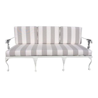 Metal Garden Sofa With Sunbrella Cushions For Sale