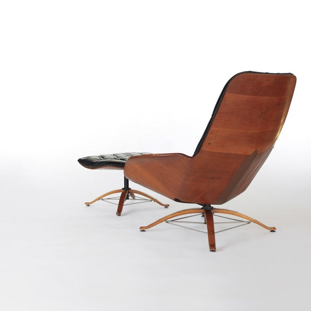 1960s Mid Century Modern George Mulhauser for Plycraft Early Mr Chair Lounge Chair & Ottoman For Sale - Image 5 of 11