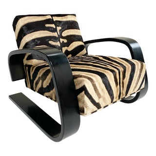 "Alvar Aalto Model 400 ""Tank"" Lounge Chair in Zebra For Sale"