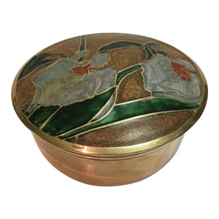 Mid-Century Brass and Enameled Lidded Box For Sale