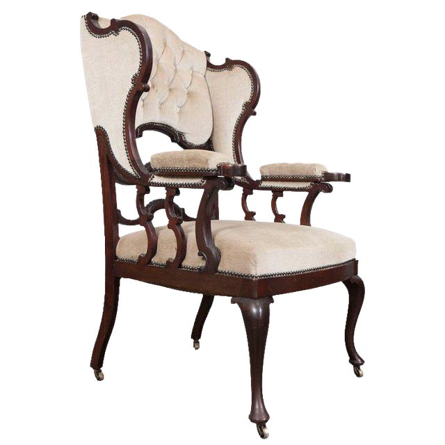 Mahogany Wingback Armchair For Sale
