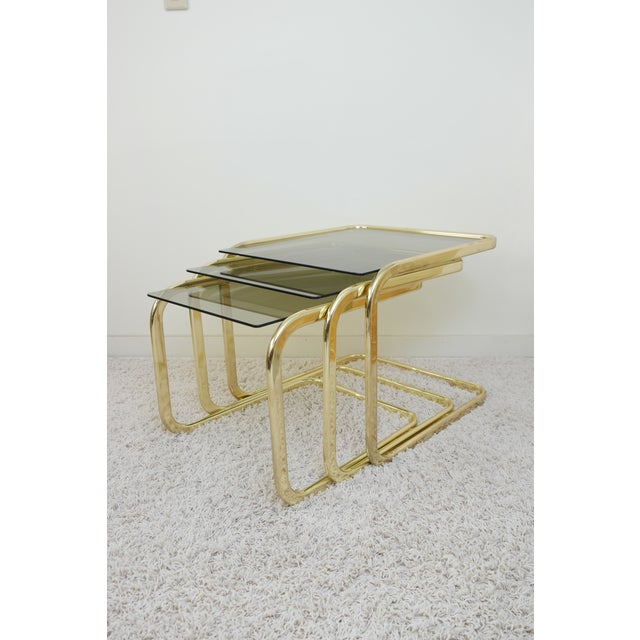 1970s Mid Century Modern Gold Steel Nesting Tables - Set of 3 For Sale - Image 9 of 9