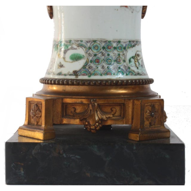 Pair of 18th Century Chinese Gilt Mounted Porcelain Vases as Lamps For Sale - Image 4 of 7