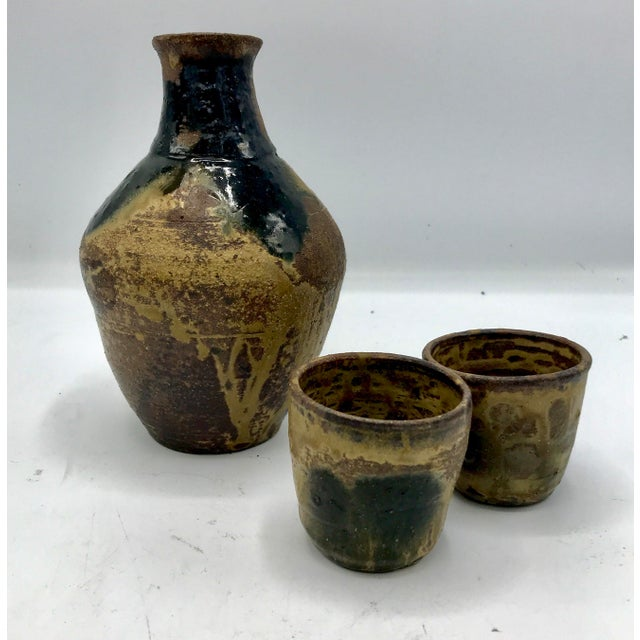 Ceramic Studio Pottery Drip Glaze Sake Set - Set of 3 For Sale - Image 7 of 7