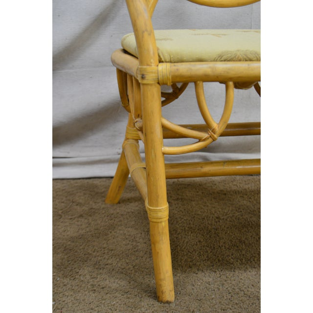McGuire Style Vintage Rattan Bamboo Spider Back Dining Chairs - Set of 8 For Sale - Image 12 of 13