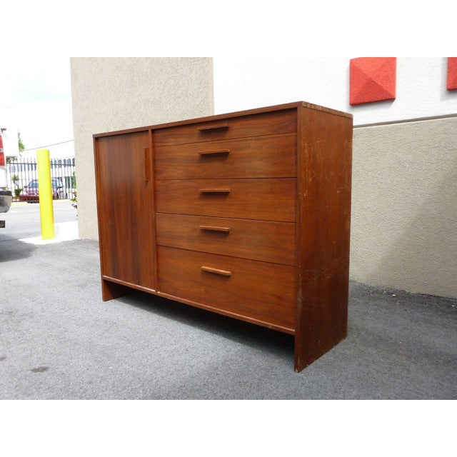 Imposing teak mid century modern danish modern architectural bachelors chest sold as found showing only minor signs of...