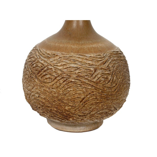 Brown Handcrafted Clay Table Lamp For Sale - Image 8 of 8