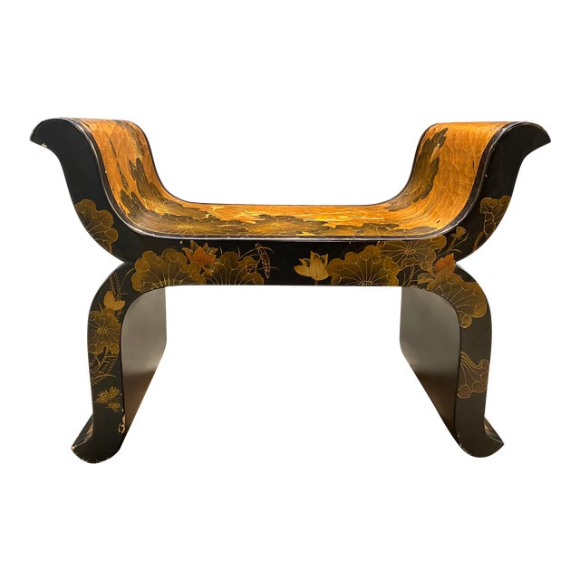 Antique Hand Painted Asian Bench For Sale