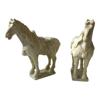 Carved Marble Asian Horses - a Pair For Sale