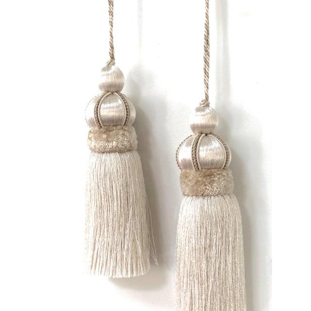 Shabby Chic Ivory Key Tassels W Cut Velvet Ruche - a Pair For Sale - Image 3 of 11