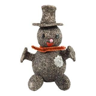 Vintage Paper Mache & Silver Glitter Snowman Christmas Ornament For Sale
