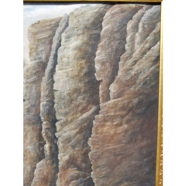1900 - 1909 Antique 1903 Seascape Oil Painting Cliff & Waves For Sale - Image 5 of 12