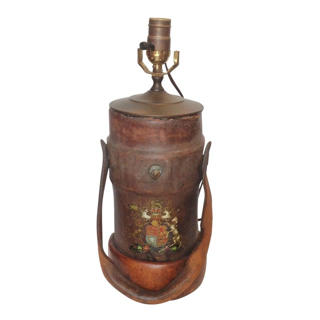 Vintage Leather Fire Bucket Lamp For Sale