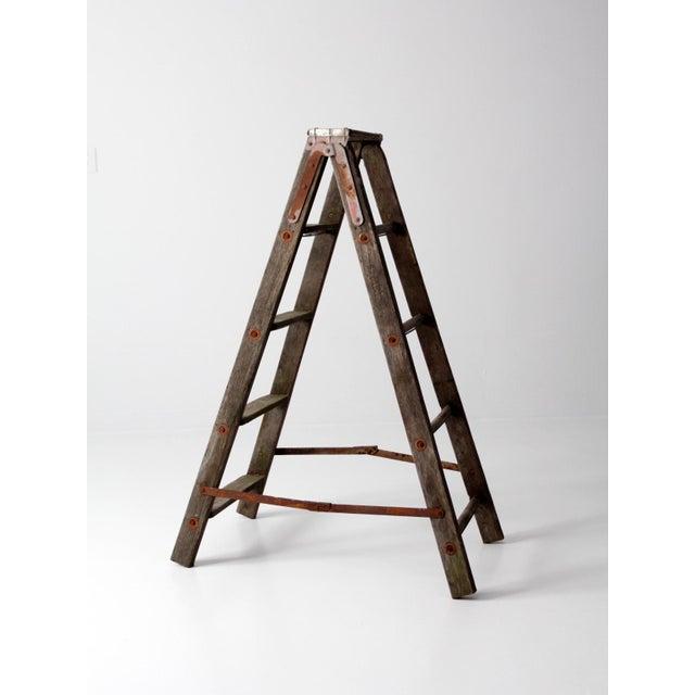 Metal Vintage Wooden Folding Ladder For Sale - Image 7 of 11