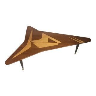 Triangular Satinwood Inlay Coffee Table