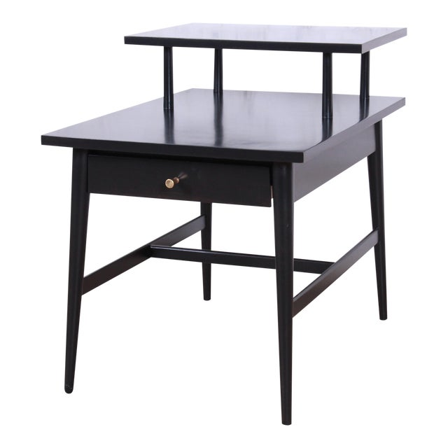 Paul McCobb Planner Group Two-Tier Ebonized End Table or Nightstand, 1950s For Sale