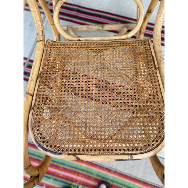 Vintage Mid Century Modern Tiki Bent Bamboo Wood Rocking Chair For Sale - Image 4 of 13