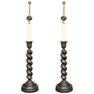 English Barley Twist Table Lamps - a Pair For Sale