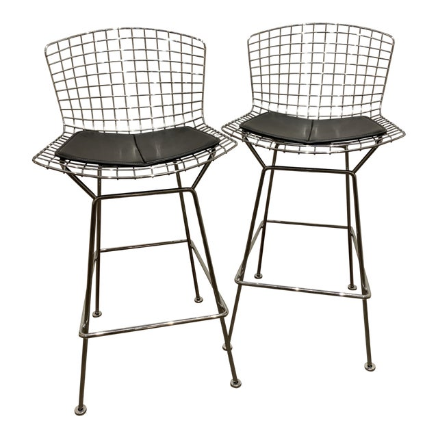 Chrome Bertoia Barstools by Knoll With Black Leather Seat Cushions - a Pair For Sale