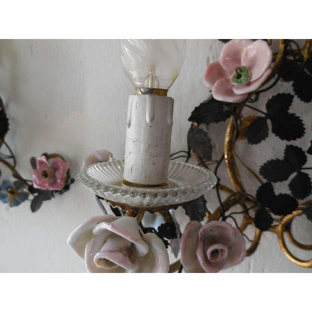 French Huge Porcelain Flowers Roses Tole Sconces For Sale - Image 9 of 10
