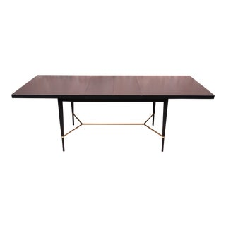 Paul McCobb Calvin Group Ebonized Mahogany and Brass Extension Dining Table, Newly Refinished For Sale