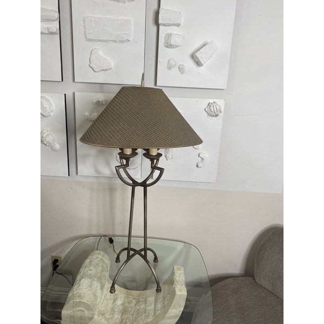 1970s Woven Shade Iron Lamps - a Pair For Sale In Los Angeles - Image 6 of 9