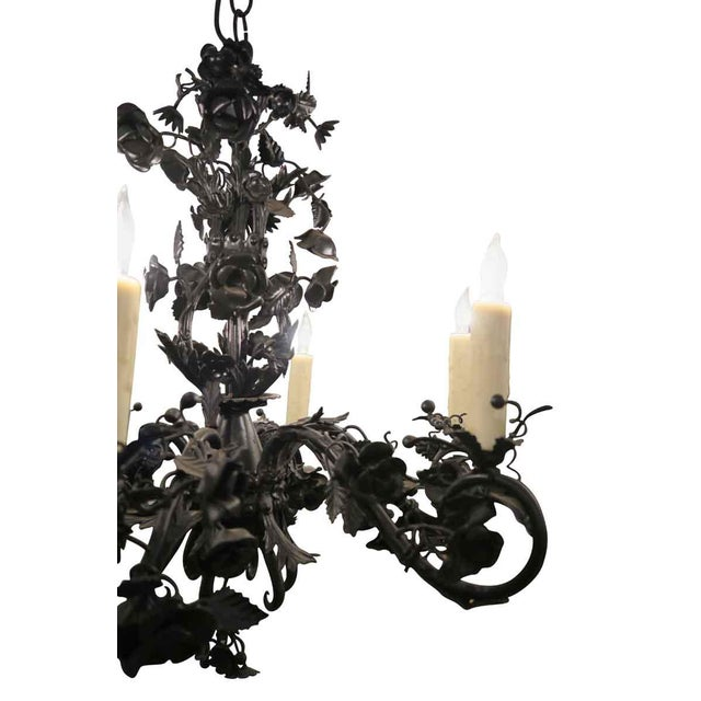 Metal Black Rose Wrought Iron Floral Chandelier For Sale - Image 7 of 7