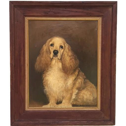 Vintage Mid-Century Cocker Spaniel Portrait Oil Painting For Sale - Image 10 of 13