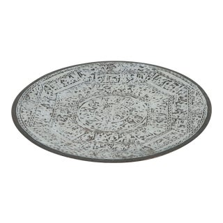 Egyptian Revival Brass Tray Overlay With Silver Designs and Hieroglyphics For Sale