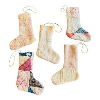 Vintage Textile Handmade Stocking Ornaments - Set of 5 For Sale