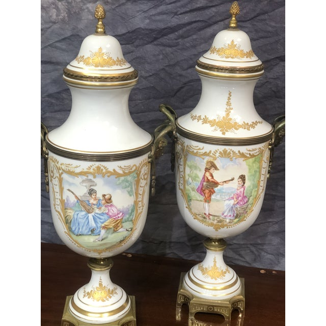 Late 20th Century Vintage Hand Painted Urns - a Pair For Sale - Image 4 of 8
