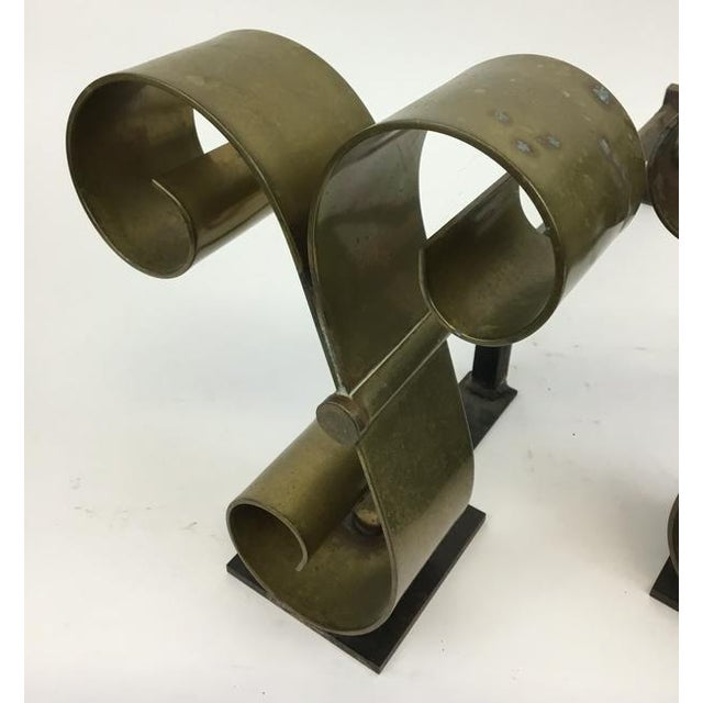 Art Deco Mid Century Solid Brass Scroll Andirons Attributed Raymond Subes For Sale - Image 3 of 5