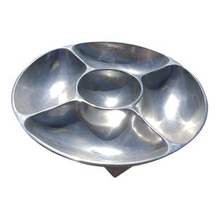 Vintage Divided Pewter 4 Section Appetizer Tray With Dip Bowl For Sale