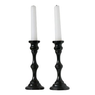 1940s Pair of Ebony Candlesticks For Sale