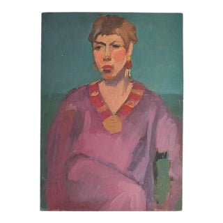 "Original Portrait Painting of a Bougie Woman 18"" X 12"" 20th Century Unsigned For Sale"