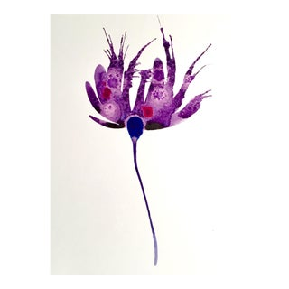 Purple Botanical Watercolor Painting