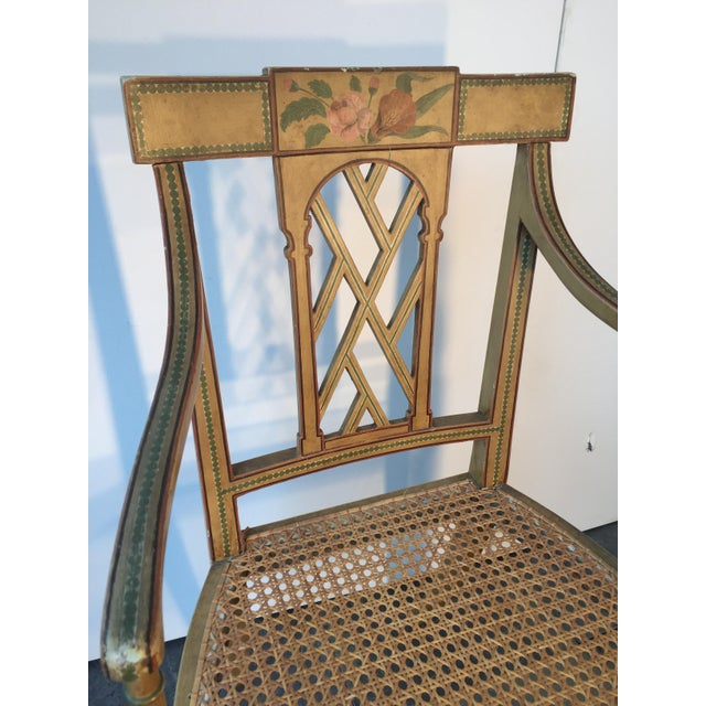 19th Century English Floral Painted Armchair For Sale In Columbia, SC - Image 6 of 6
