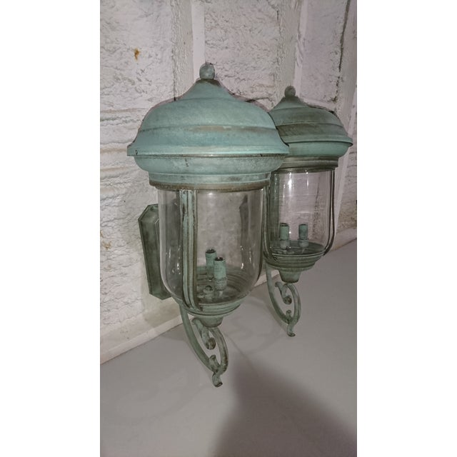 Glass Handcrafted French Country Wall Lantern - A Pair For Sale - Image 7 of 10