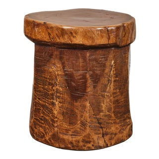 Vintage Granary Mortar Indonesian Teak Stool For Sale