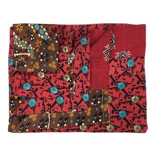 Rug & Relic Roses on Red Vintage Kantha Quilt For Sale