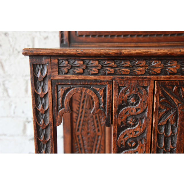 19th Century English Ornate Carved Oak Sideboard Bar Cabinet For Sale - Image 10 of 13