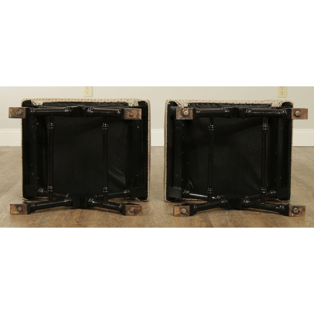 Wood Regency Style Black Lacquered Pair X Benches For Sale - Image 7 of 13