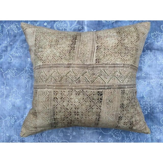 Hand Loomed Tribal Batik Textile Pillow - Image 2 of 7